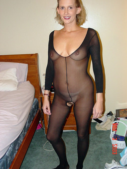 Smiley wife posing in fishnet clothes,..