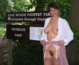 Mature aged moms walking topless in..