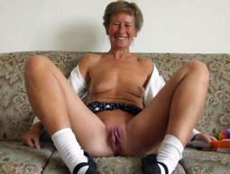 Slutty grandma posing nude outdoor, on..