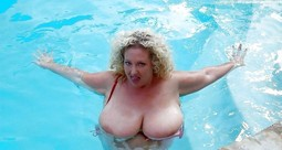 Chubby mature woman with big melons..