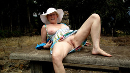 Busty mature slut exposed her bald old..